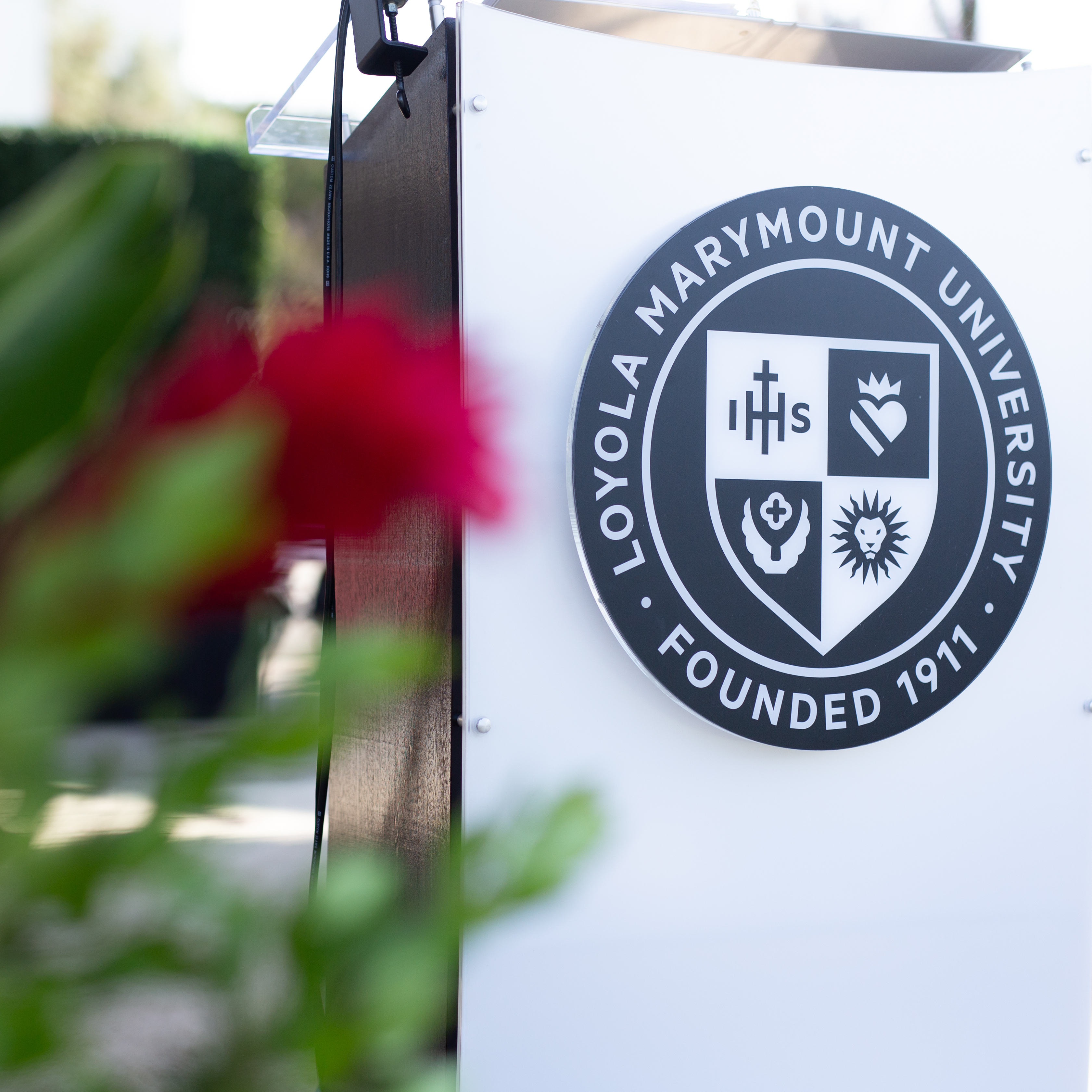 Podium with LMU seal